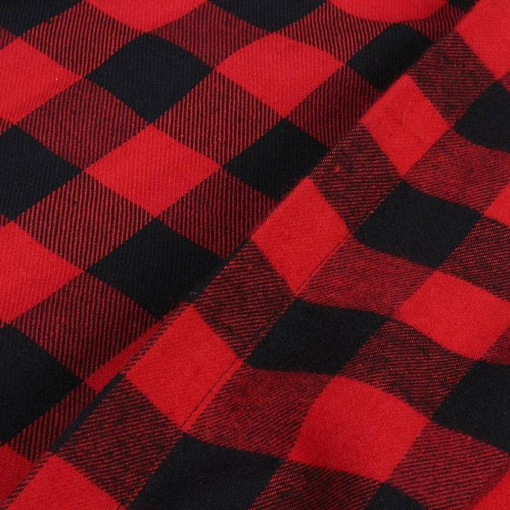 DEELIN Camisa Sin Mangas Larga De La Tela Escocesa Roja De La ...