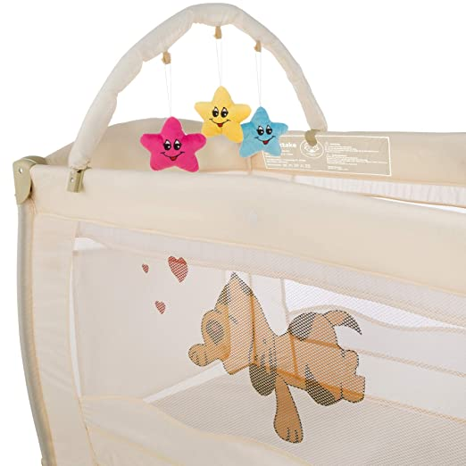 tectake Kinder Reisebett h/öhenverstellbar mit Wickelauflage Beige | Nr. 400467 diverse Farben