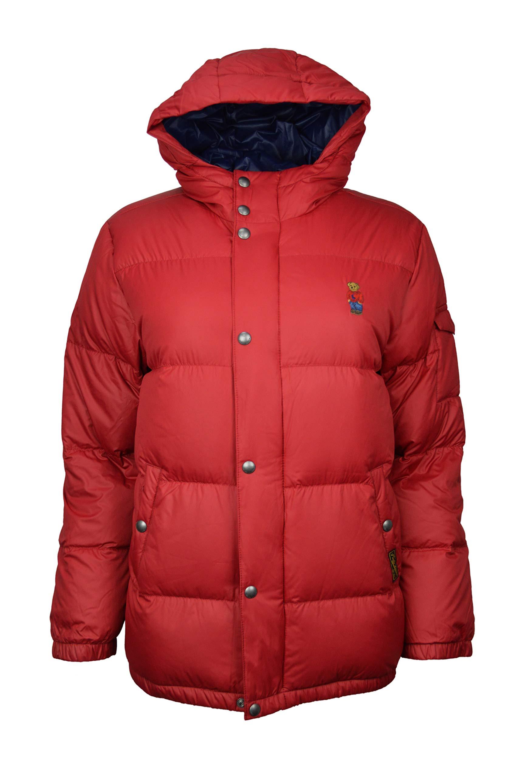 Polo Ralph Lauren Kids Snap Button Full Zip Hooded Puffer Jacket Coat RL Red Small (8)