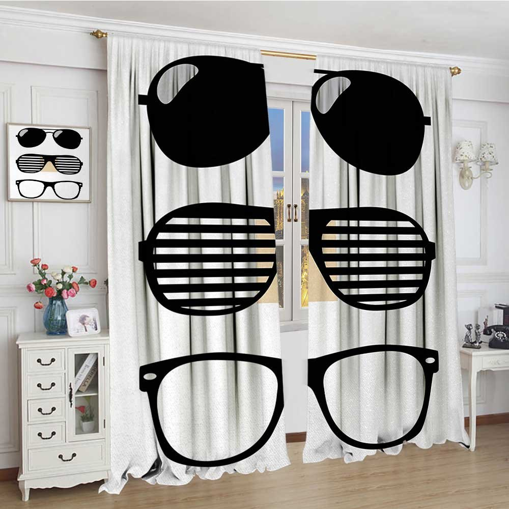 smallbeefly Indie Room Darkening Curtains Set of Stylized Old Fashioned Sunglasses Summer Accessories Hipster Vintage Customized Curtains 84''x84'' Black and White