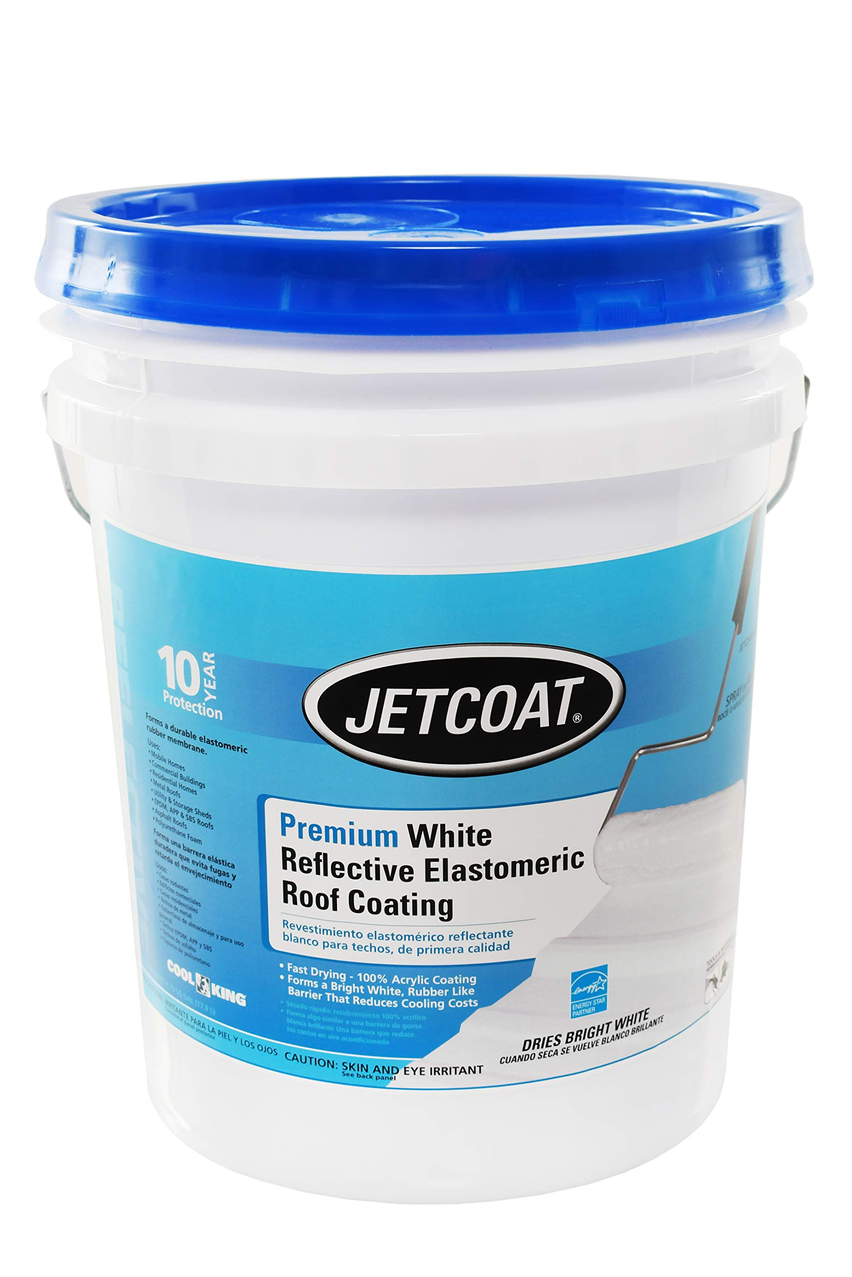 Jetcoat Cool King Elastomeric Acrylic Reflective Roof Coating, White, 5 Gallon, 10 Year Protection