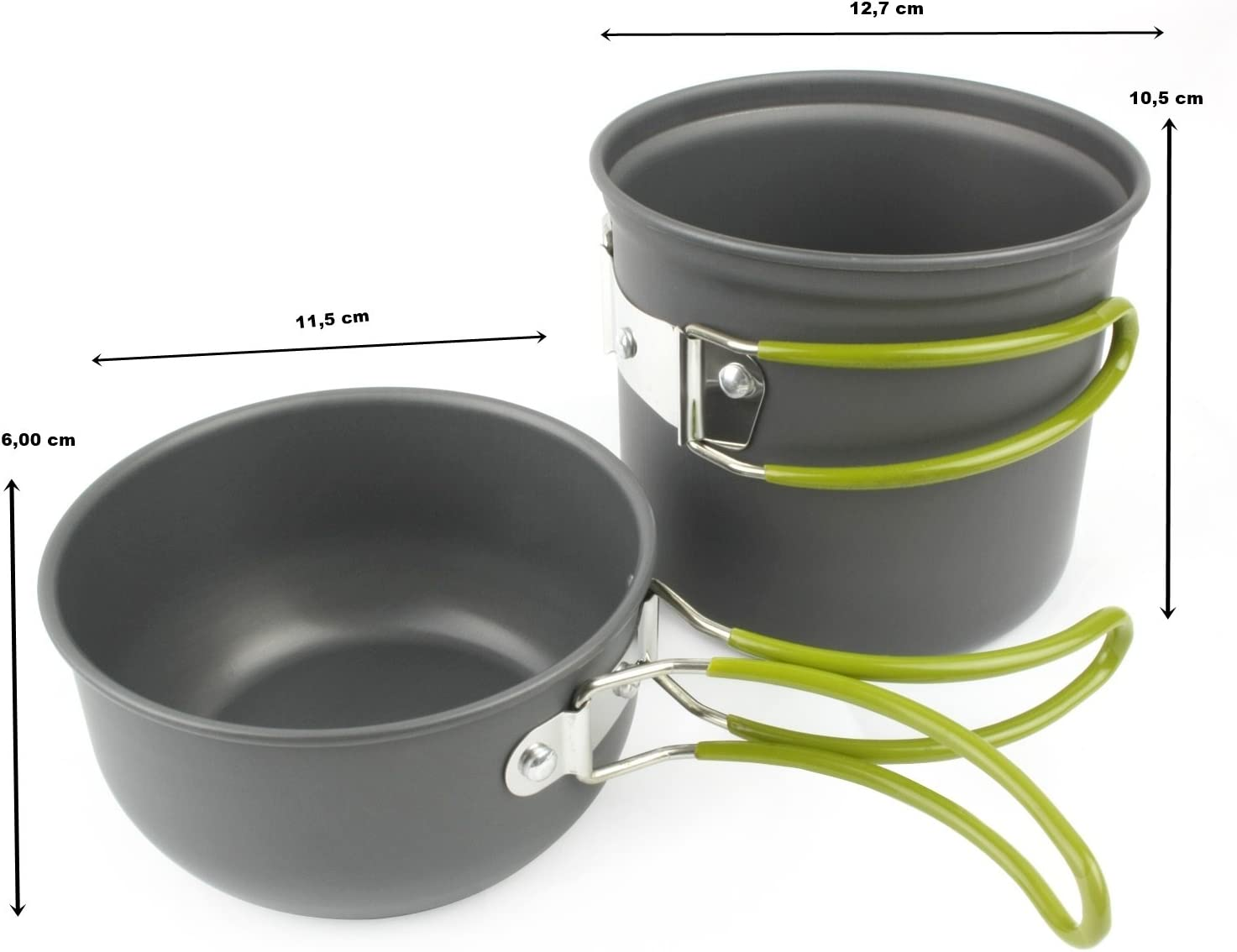 Grenhaven – SET dos partes Batería de cocina para camping, Sartén (tapa), olla y bolsa de malla - Ligera y compacta con asas plegables de silicona, ...