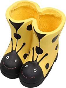 AB Tools Yellow Frost Proof Polyresin Ladybird Boot Planter Garden Ornament 23x23x23cm