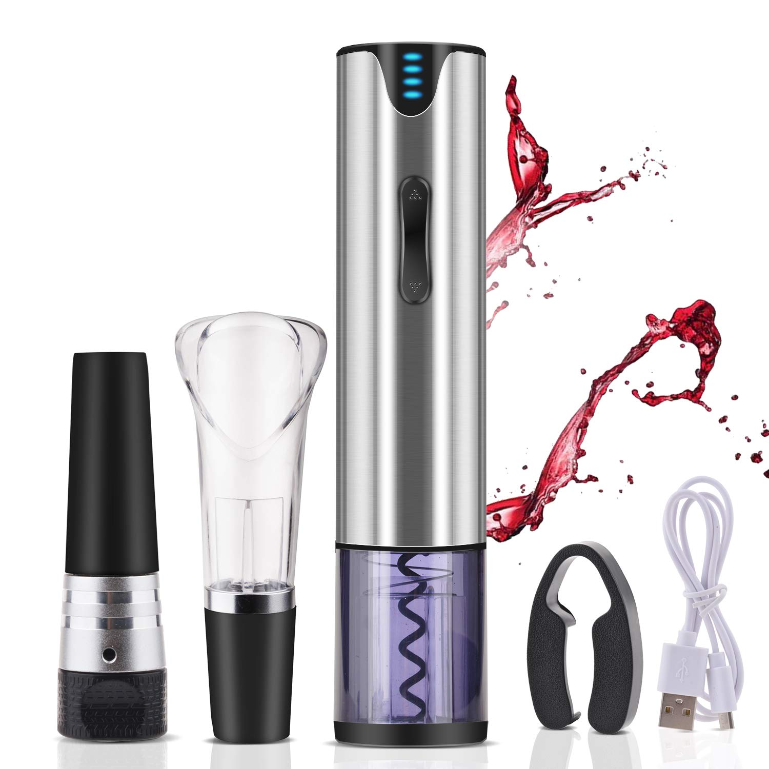 Web Bee Electric Wine Opener Rechargeable,Automatic Wine Bottle Openers with Premium Vacuum, Wine Opener,Pourer,Foil Cutter and USB Recharging Interface.Gift Kit
