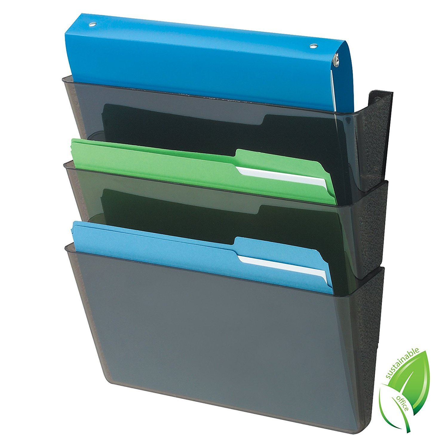 Deflecto Sustainable Office DocuPocket, Recycled Content, Wall File Organizer, Stackable, Letter Size, Black, Set of 3, 13''W x 7''H x 4''D (4 Sets of 3)