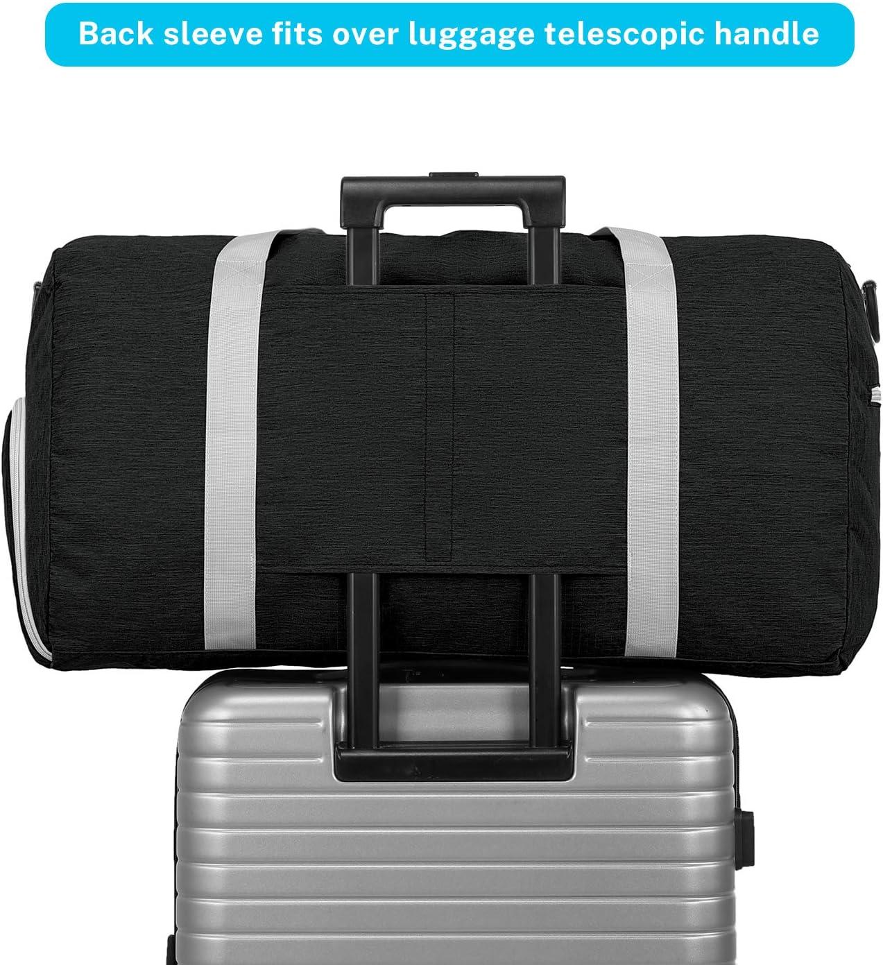 65 L, plegable, resistente al agua, bolsa de viaje ligera, con gran capacidad para equipaje, gimnasio, deportes, color negro Bolsa de lona deportiva Gonex