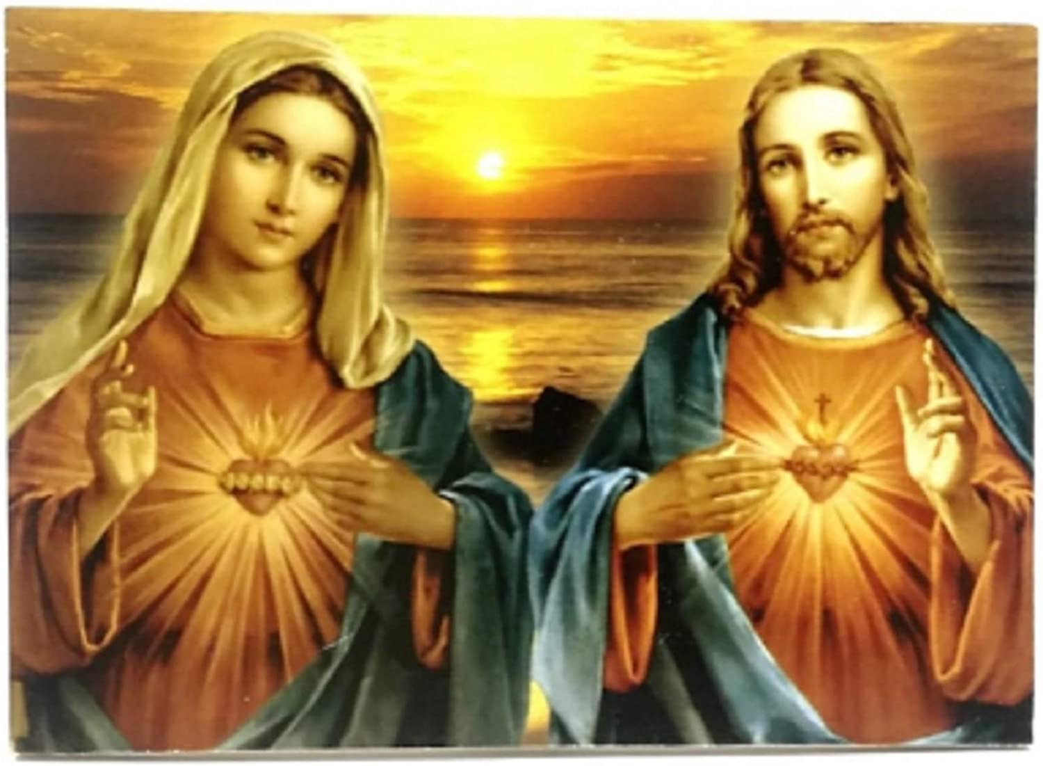 Sacred Heart of Jesus and Mary - Painting Print Picture - Immaculate Heart - Catholic Home Decor