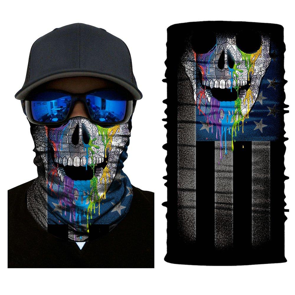Heinmo Motorcycle 3D Seamless Skull Magic Head Face Mask Shield Sun Neck Balaclava Multifunction Windproof Anti-UV Riding Neck Scarf Headwear Heinmo Plus