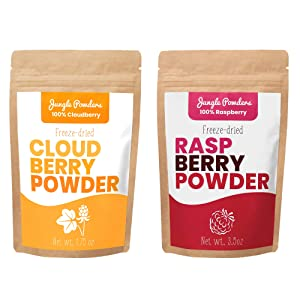 Jungle Powders Superfood Fruit Powder Bundle | Raspberry & Cloudberry 100% Freeze Dried Fruit Powder Vegan Friendly Raspberry Extract | Natural Food Coloring Unsweetened Cloudberry Superfood Powder