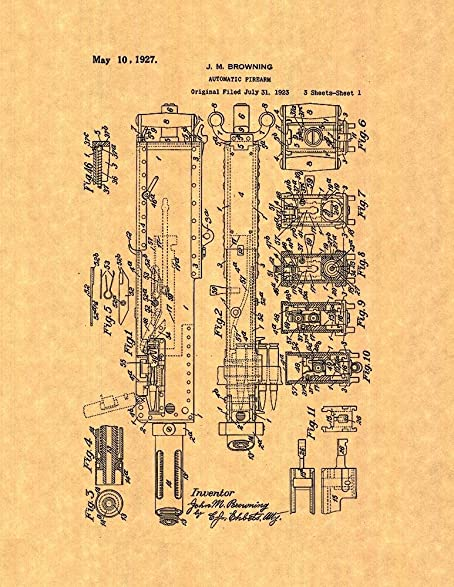 Amazon.com: M2 Browning Machine Gun in .50 BMG Patent Print Art ...