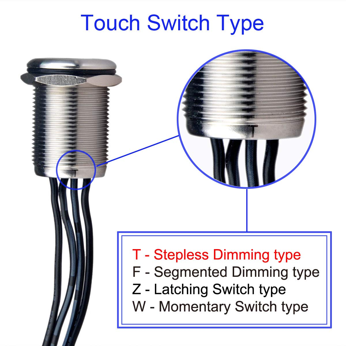 Suitable for 19mm 3//4 Mounting Hole Ulincos Touch Switch UT19Z5 Latching Switch DC 6V to 24V Blue LED with Standard Barrel Connectors