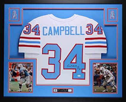 buy popular 1fbed 92c61 Earl Campbell Autographed White Oilers Jersey - Beautifully ...