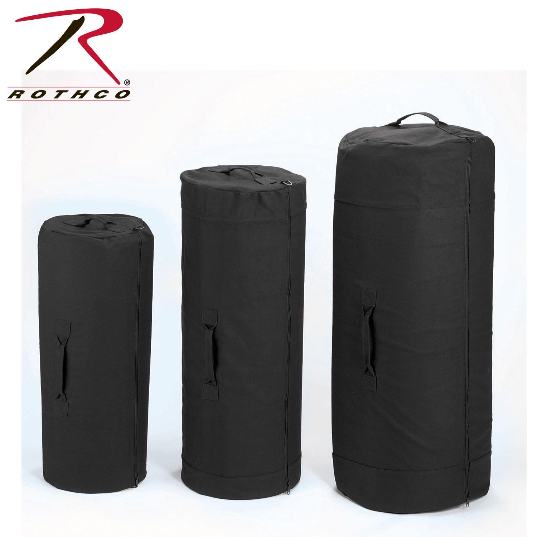 Rothco Canvas Zipper Duffle Bag, Black, 25'' x 42''