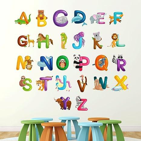 Alfabeto 1.5m inglés Con animales Pegatina de pared Aprender ...