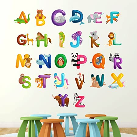 alphabet with animals xlarge 1 5m wide wall sticker learn letters