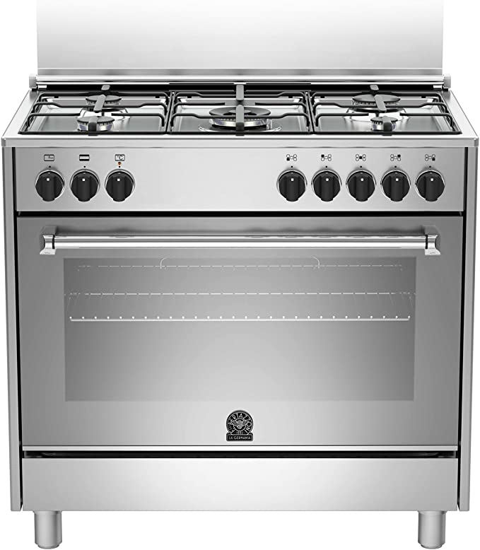 Bertazzoni The Germania Amn905mfesxe Cooker Gas Stove B Stainless Steel Oven And Stove Oven And Hob Stainless Steel Revolving Gas Hob Front Rh Gas Amazon De Home Kitchen