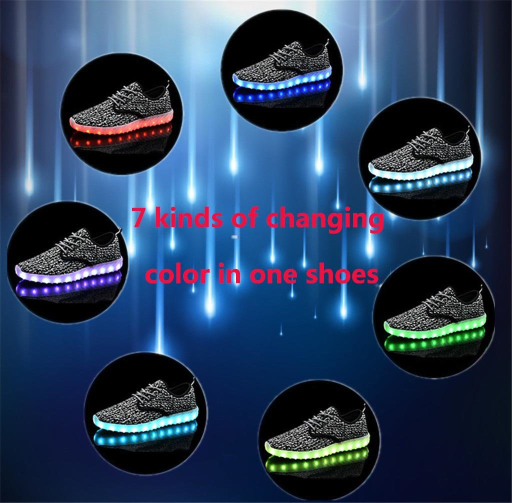 UNN Led Light Up Shoes for Men Women and Kids USB Charging Flashing Luminous Glowing Sneakers Black 41 by UNN (Image #8)