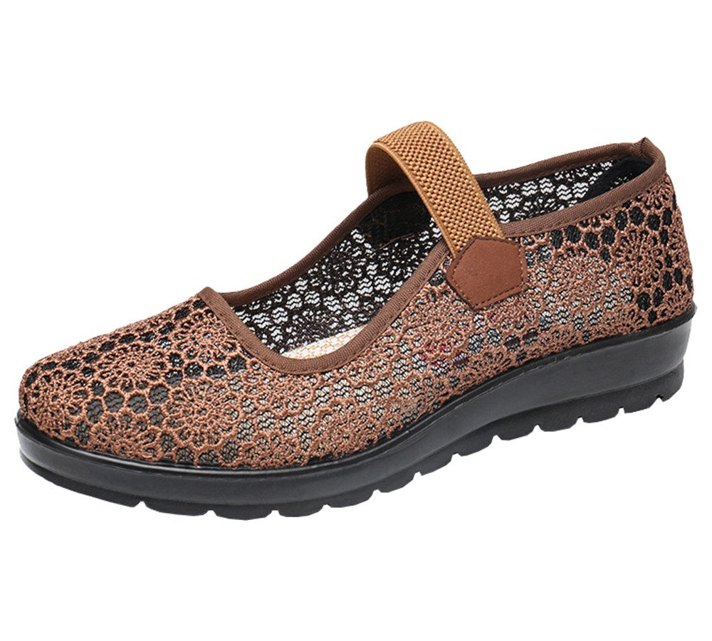 missfiona Womens Hollow Out Granny Walk Shoes Breathable Soft-Soled Mary Jane Flats(8, Brown)