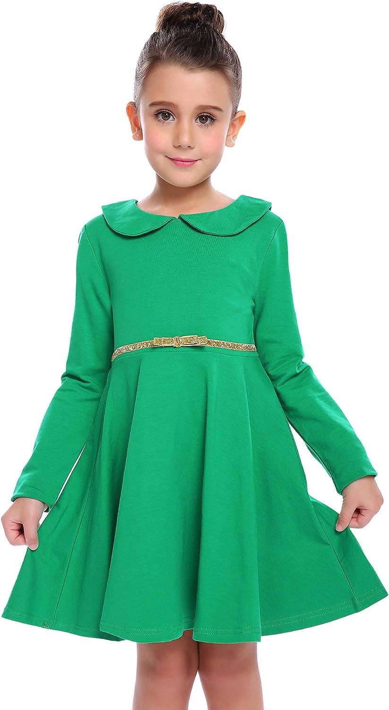 Girls Kids New Childrens Long Sleeve Swing Skater Dress Round Neck Party Dresses