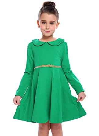 a6b25374906 Arshiner Girls Long Sleeve Doll Collar Dress Solid Color A Line Peter Pan  Collar Cotton Dress