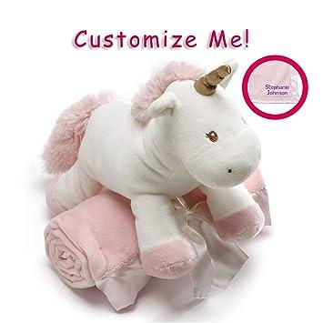 Amazon Com Gund Personalized Luna Unicorn Plush With Pink Blanket