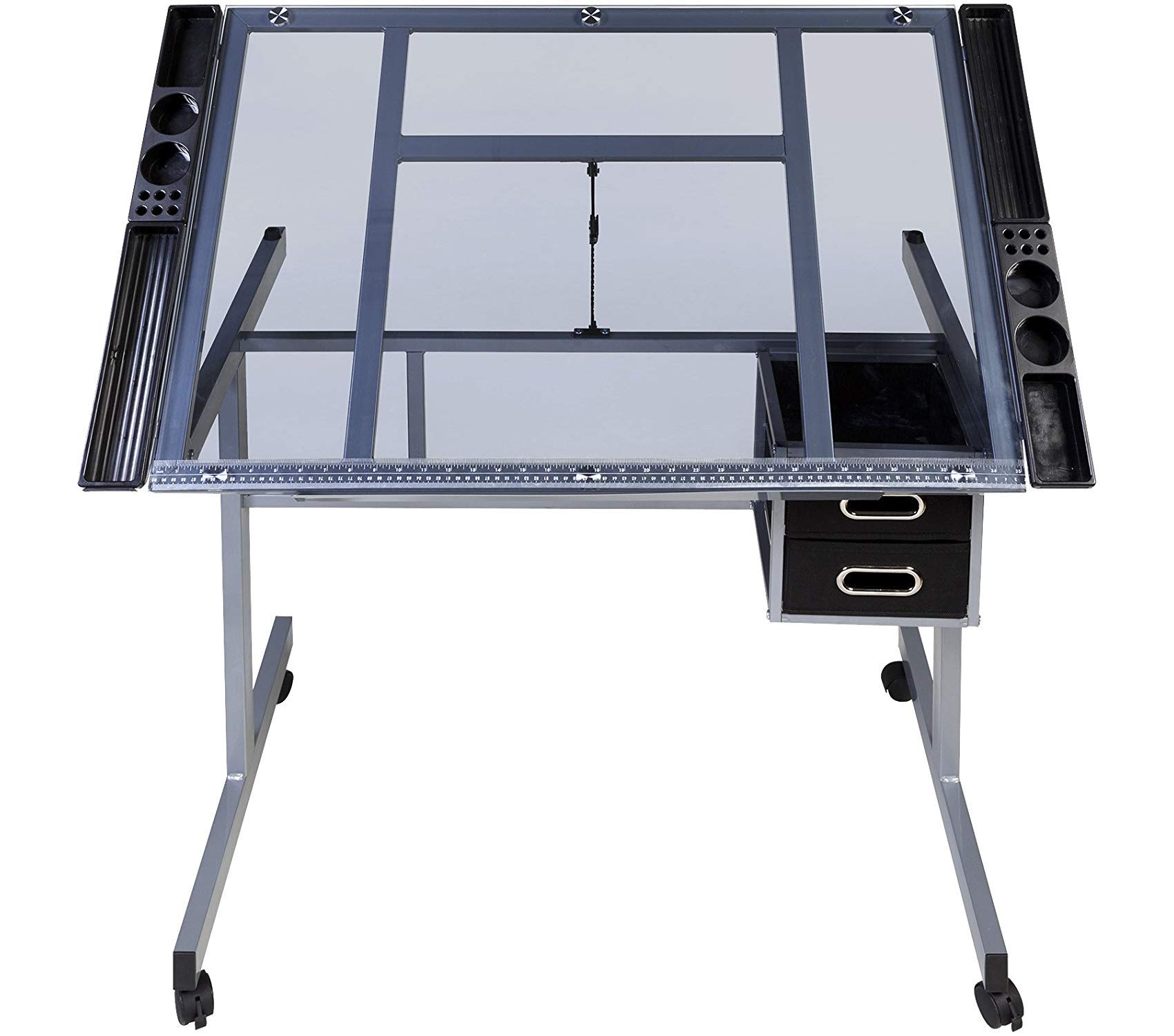Оnеspаcе Deluxe Premium Collection Craft Station Silver with Blue Glass Decor Comfy Living Furniture by Оnеspаcе (Image #4)