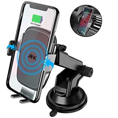 AHK Wireless Car Charger Mount,Auto-Clamping Qi 10W/7.5W Fast Charging 5W Car Mount, Windshield Dashboard Air Vent Phone Holder Compatible with iPhone Xs Max XR 8 Plus, Samsung S10 S9 S8 (Silver)
