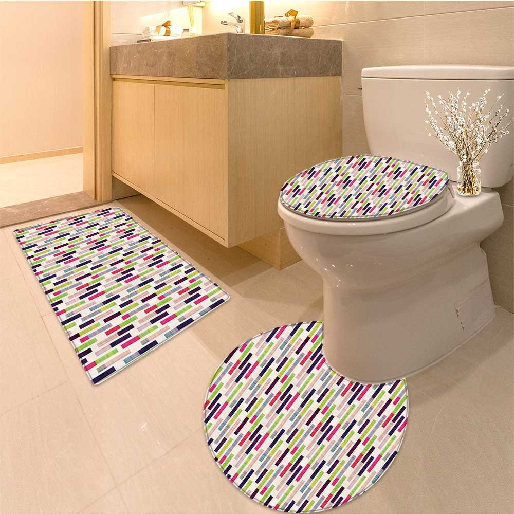 3 Piece Anti-slip mat set Futuristic Hipster Trippy Repeating Borders in Bright Tiles work Fabric Set with Hoo Non Slip Bathroom Rugs