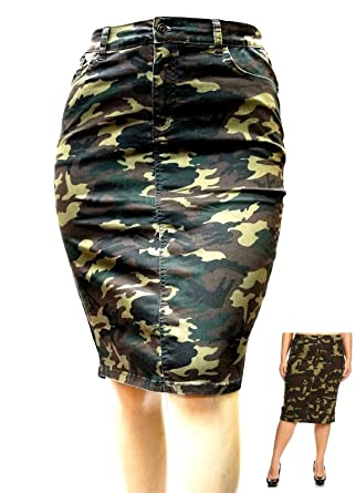 0e0960f22 Jack David Womens Plus Size Stretch Denim Jeans Casual Twill Cotton  Camouflage Skirt at Amazon Women's Clothing store: