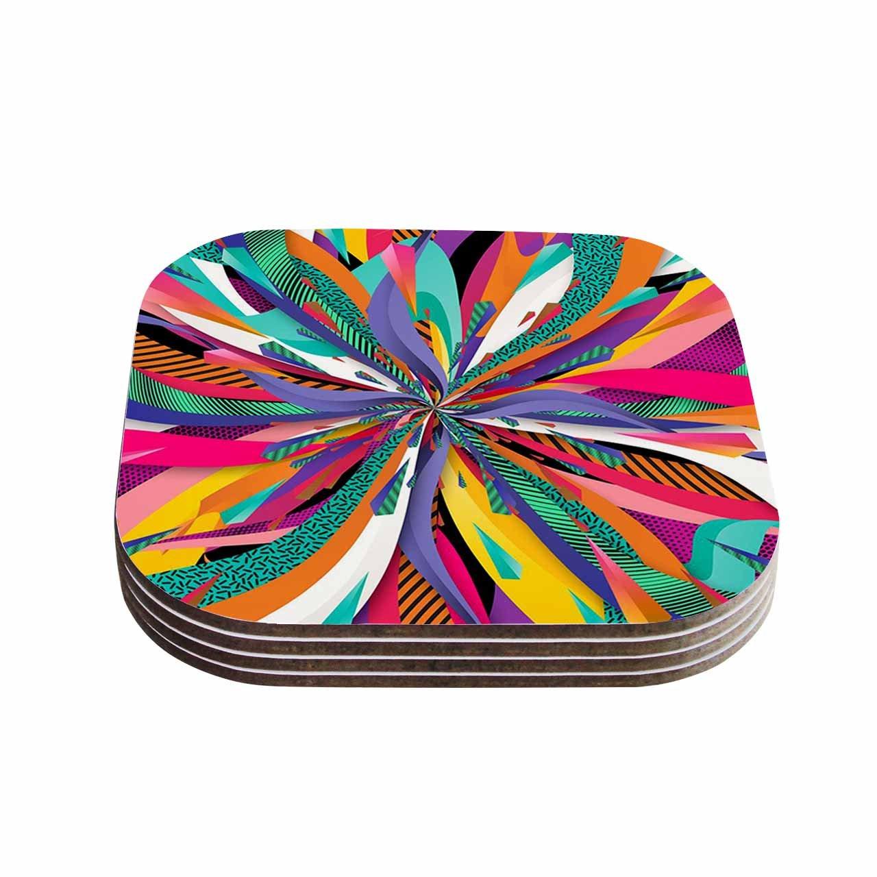 KESS InHouse Danny IvanPop Abstract Coasters Multicolor Set of 4 4 x 4
