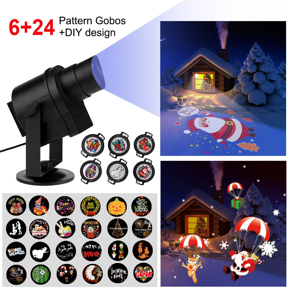 Diglot Christmas Lights Projector 2017 New DIY LED Projector Lights 30pcs Gobos with 360° Rotating Anti-fading Waterproof Perfect for ChristmasHoliday ... & Diglot Christmas Lights Projector 2017 New DIY LED Projector Lights ...