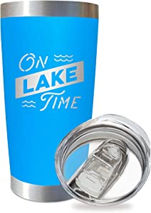 SassyCups On Lake Time Tumbler Cup   20 Ounce Engraved Blue Stainless Steel Insulated Travel Mug with Lid   Lake House Decor   Lake Housewarming   Lake Lovers   Boat Owner   Lake Accessories