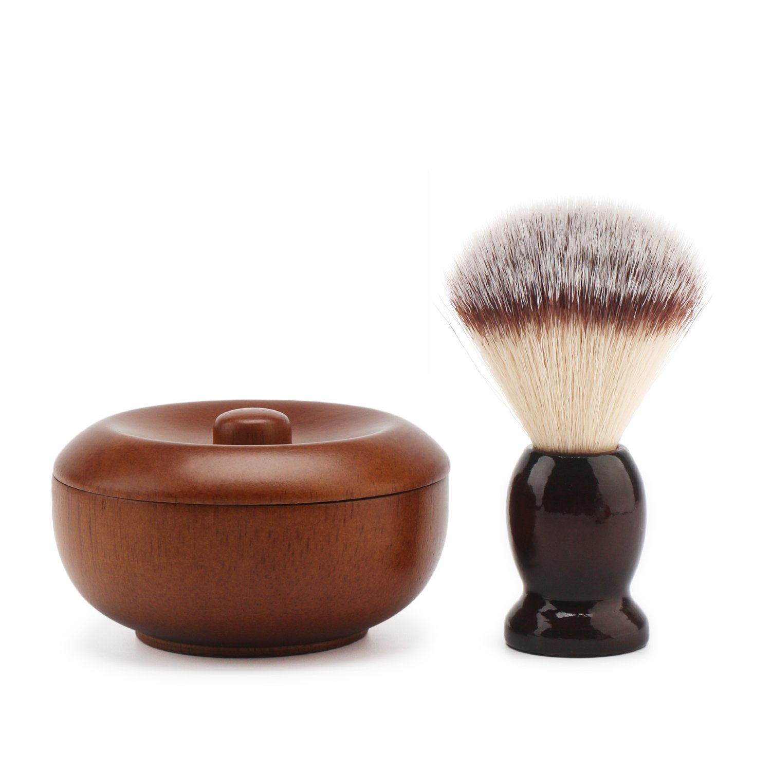Soft Shave Lather Brush, Wooden Vintage Shave Mug with Lid, Beard Shaving Soap Cream Bowl Container for Men, Traditional Wet Shaving Kit