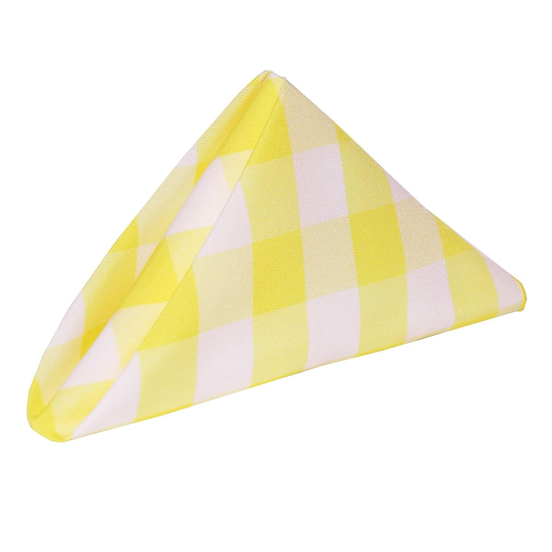 究極Textile 17 x 17インチポリエステルチェック模様布ナプキン(1ダース) Buy The Case (55DZ/CASE) イエロー CASE-17X17-256 Buy The Case (55DZ/CASE) Lemon & White B0796H2RZF
