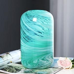 Glass Flower Vase, Blue Hand Blown Glass Vase,Decorative Glass Vase for Home Decor,Modern Floral Vase for Living Room, Centerpieces, Tabletop, Wedding