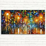 GOUPSKY Tree Oil Painting Colorful Palette Knife