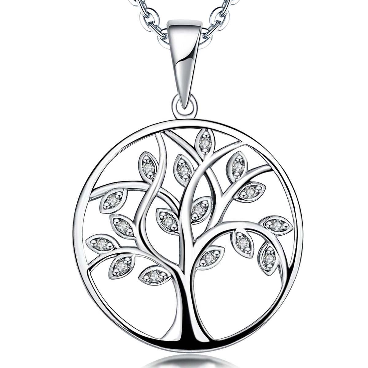 YL Life Tree Pendant for Women Sterling Silver Emerald Necklace Gemstone Rose Jewelry YL Jewelry NP5700CV2