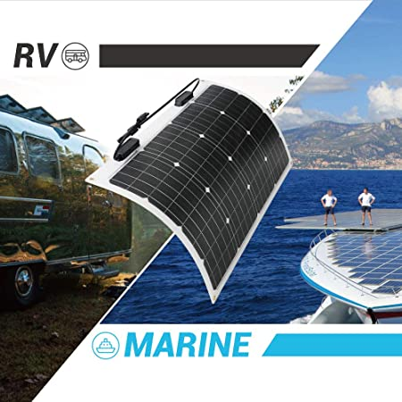 image showing the renogy 50 watt 12 volt flexible monocrystalline solar panel being used on an rv and a boat
