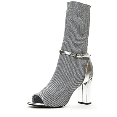 5f1c995a0d43 Jeffrey Campbell  Nila  Silver Metallic Sexy Open Toe Sock ...