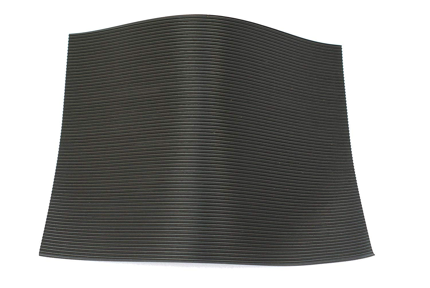 Size A2 Fine Fluted Black Ribbed Rubber Matting 3mm Thick 594mm x 420mm