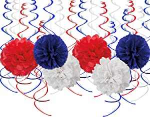 24PCS 4th of July Decorations Red & Blue & White Include 6Pcs Paper Poms, 18Pcs Hanging Swirls Ciling Decor - Veterans Day, Patriotic Party, Fourth of July Birthday Party Decor