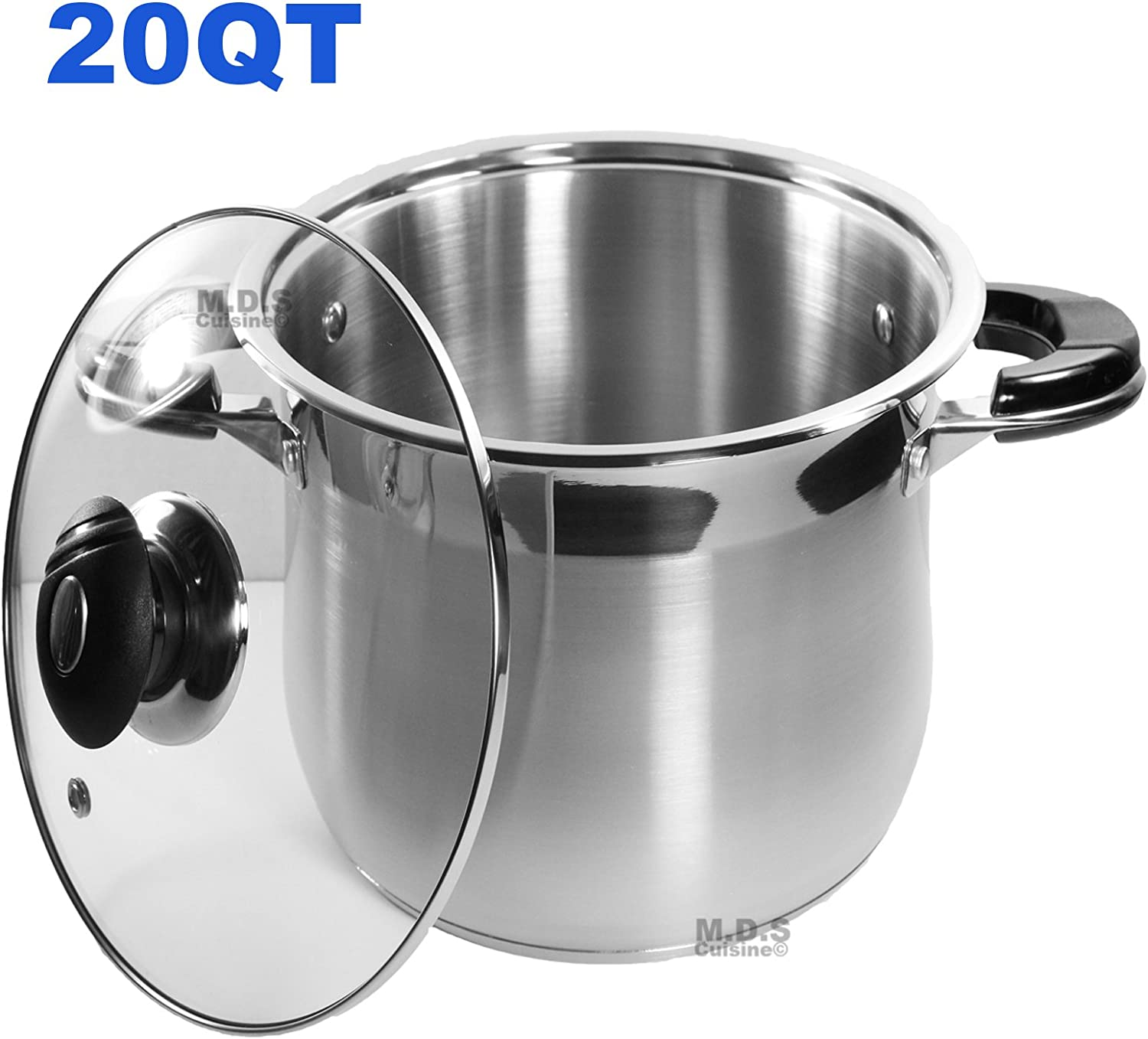 20Qt Stock Pot Stainless Steel Super Double Capsulated Bottom w/Glass Lid
