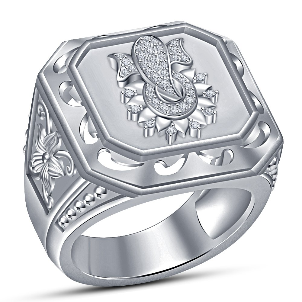 venta caliente en línea Lujo de moda Vorra corte rojoondo blanco CZ anillo de de de hombres, Ganpati flor de 925 plata de ley  hasta 60% de descuento