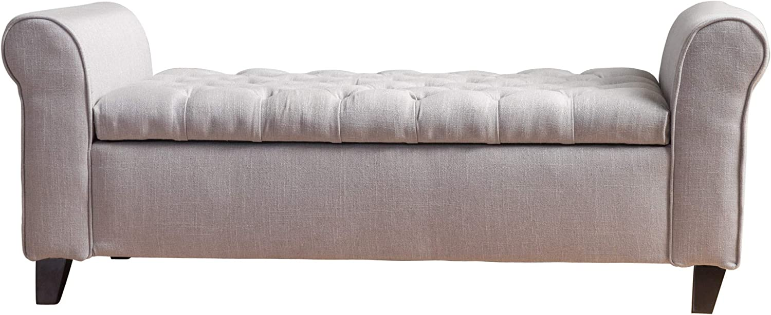 "Christopher Knight Home Living Lamara Light Grey Fabric Armed Storage Bench, 19.50"" D x 50.00"" W x 19.25"" H"