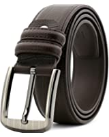 mingrun Mens Leather Belts With Two Row Stitch