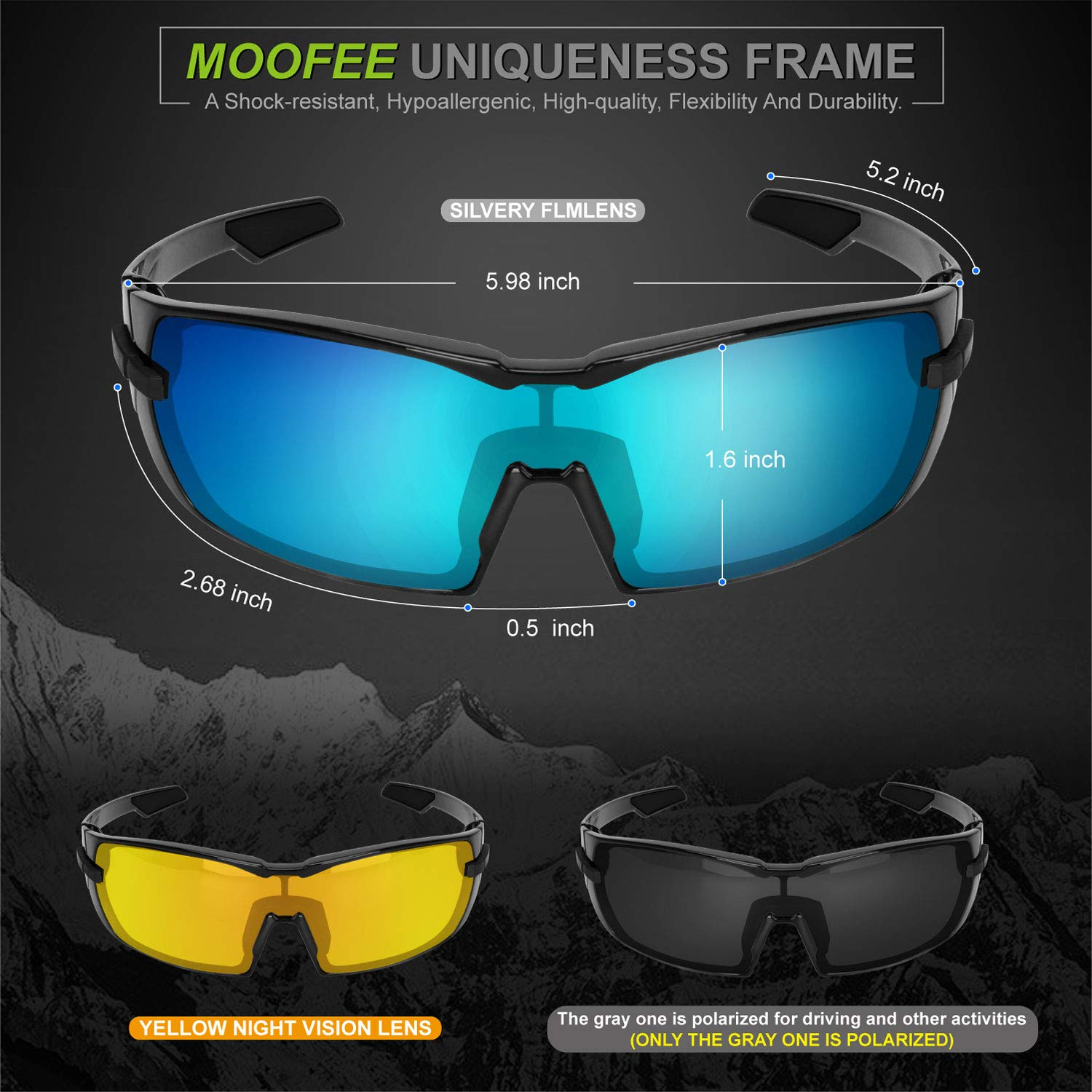 7336c5c7caf Amazon.com  Moofee Polarized Sports Sunglasses with Rotatable Legs and 3  interchangeable Lenses Outdoor Glasses for Men Women TR90 Unbreakable UV  Protection ...