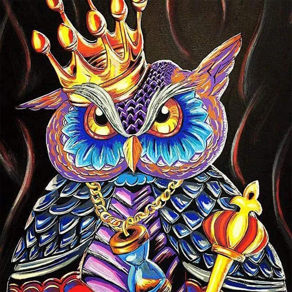 5D Diamond Painting by Number Kit for Adults,Colour Full Drill Gem Embroidery Cross Stitch Pictures Best Gift Paintings Arts Craft for Home Wall Decor Crown Owl 11.8x11.8 in