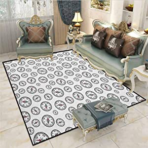 Compass Farmhouse Rug Christmas Kitchen Rugs Hand Drawn Vintage Pattern Navigation Equipment Find Your Way on Vast Seas Desk Chair mat for Carpet Black Blue Coral 6.5 x 8 Ft