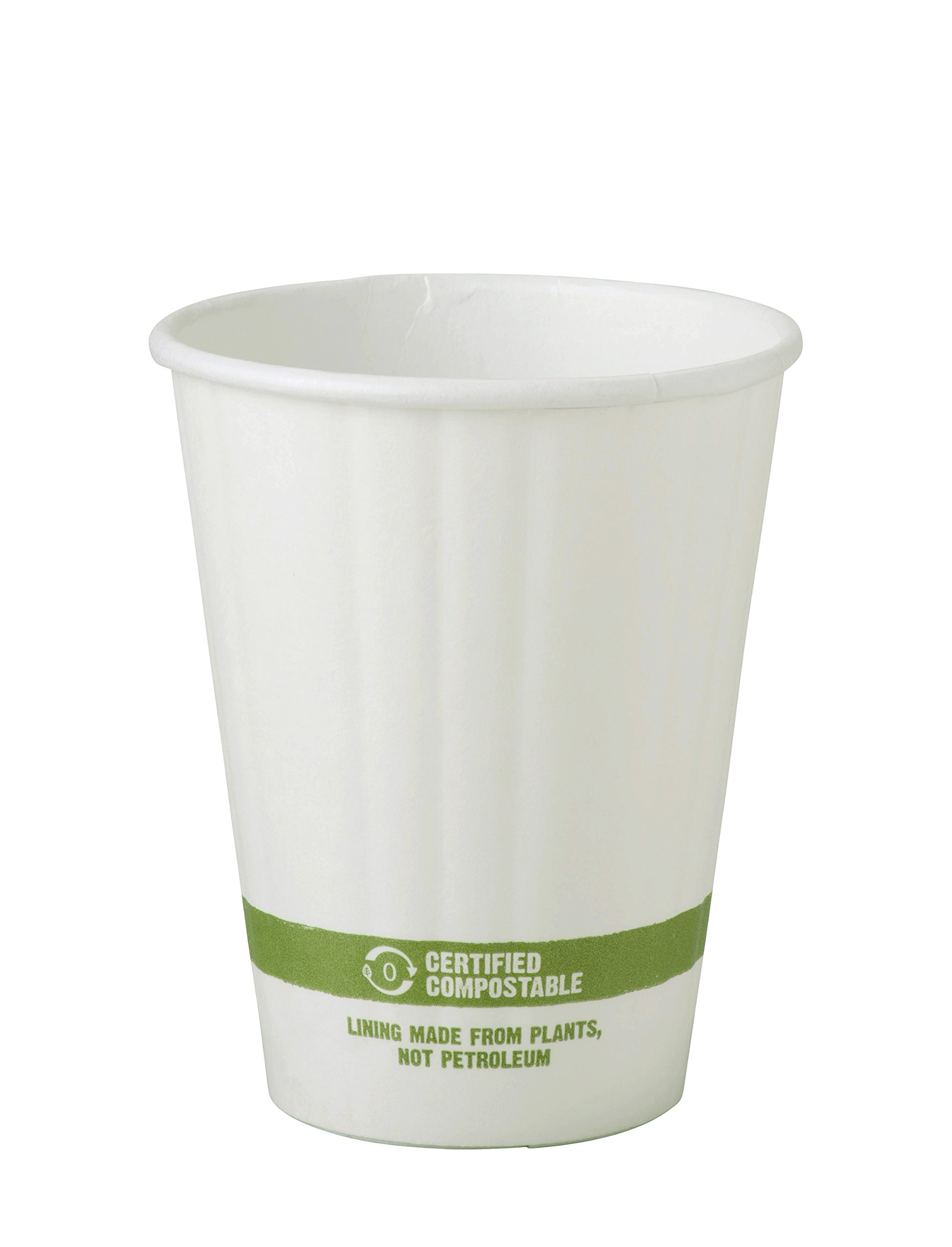 World Centric CU-PA-8D Compostable Double Wall Paper Hot Cup, 8 oz. (Pack of 1000)