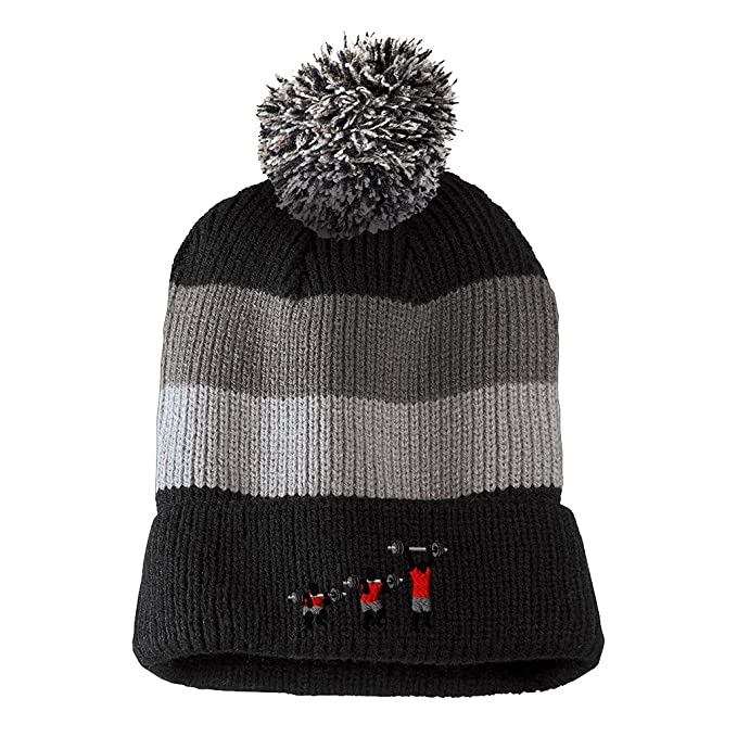 73668e8326c Weight Cross Fit Barebell Embroidered Unisex Adult Acrylic Vintage Striped  Removable Pom Pom Beanie Winter Hat